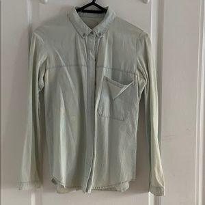 Zara Acid Wash Denim Button Down Shirt